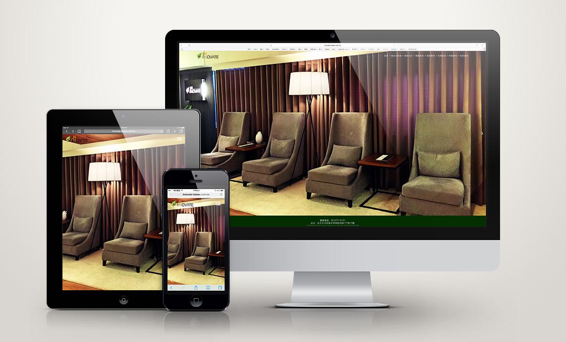 網頁設計,INNOVATE,專業頭皮養護,滿版首頁,淺色背景